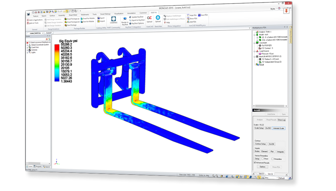 Analyse de simulation FEA Multiphysics In-CAD
